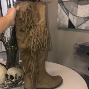 21 inch suede fringe boots